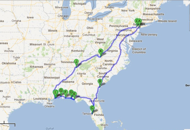 east coast usa road trip itinerary